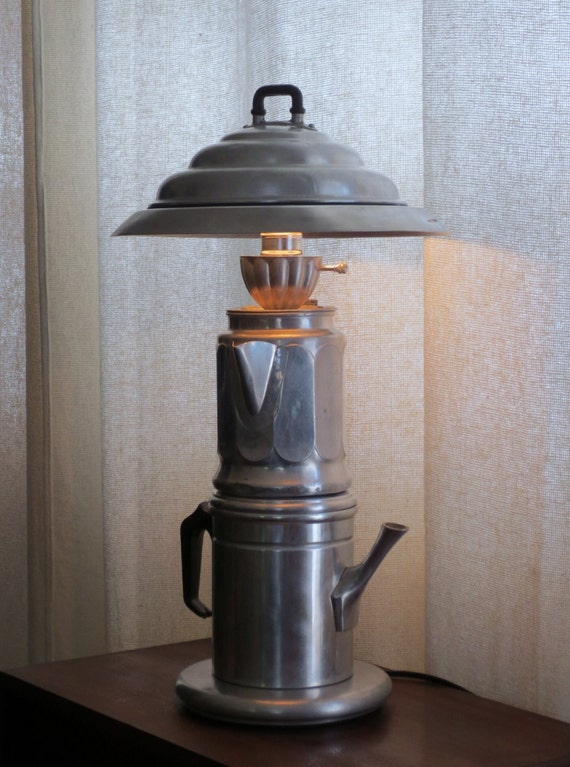 The Towering Cafferno - coffee pot table lamp with shade