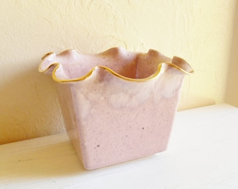 SALE - Vintage Ceramic Flower Pot with Ruffle Edges Mauve with Gold Metallic Trim