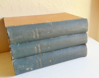Set of Antique English Literature Books 3 Volumes Large Neutral Earth Tones Home Decor