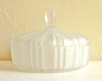 SALE Vintage Frosted Glass Candy Bowl with Lid Pastel Colors