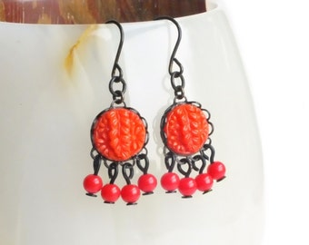 Small Red Chandelier Earrings Vintage Carved Glass Earrings Red Floral Earrings Small Red Dangles Red Glass Chandelier Small Red Earrings