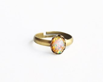 Tiny Opal Stacking Ring Vintage Opal Ring Adjustable Ring Small Stacking Ring Tiny Stacking Ring Iridescent Glass Ring