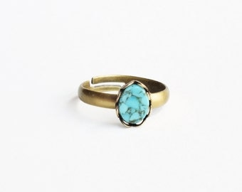 Tiny Turquoise Stacking Ring Adjustable Turquoise Ring Small Turquoise Stacking Ring Tiny Stacking Ring Aqua Glass Ring
