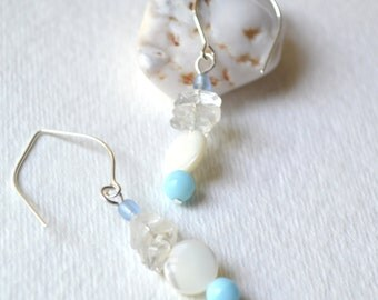 Snow Day Quartz Earrings - Mother-of-Pearl, Silver Ear Wires - Handmade, Metaphysical Healing Jewelry, Matching Bracelet Available, Beaded