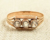 Size 7.75 Antique 14K Gold and Crystal Paste Ring