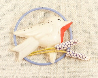 RESERVED for Kathy =========== Antique Celluloid Baby Bird and Lupins Brooch