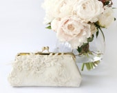 Alencon Lace Bridal Clutch with beaded sequins embroidery in Ivory 8-inches
