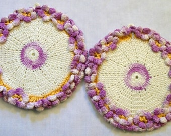 Vintage Pot Holders, Purple and White Pot Holders, Purple Violets, Set of Pot Holders, Vintage Kitchen, 1950s
