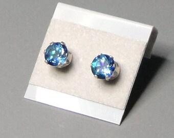 Blue Topaz Neptune Garden Sterling Silver Post Earrings Free Shipping