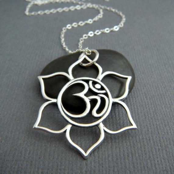 Large Lotus Flower Om Necklace Sterling Silver Yoga Pendant