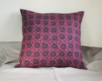 Black and thistle purple geometric floral Tudor texture hand block printed on black cherry linen decorative home decor pillow cover