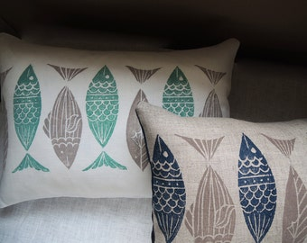 Anchovy hand hand block printed in your choice of colors nautical home decor retro modern style decorative pillow cover