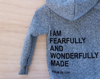 kids christian hoodie,  boys and girls christian hoodie, I Am Fearfully And Wonderfully Made, toddler and kid, back to school, birthday gift