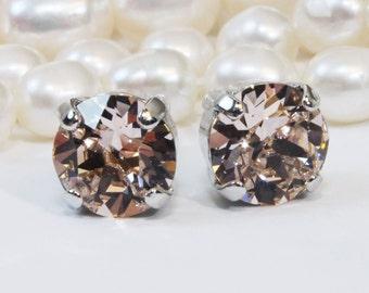 Blush Studs Blush Swarovski  Crystal Earrings Blush Wedding 8mm Studs Single stone Antique Pink Studs Ballet Pink,Silver,Vintage Rose,SE1