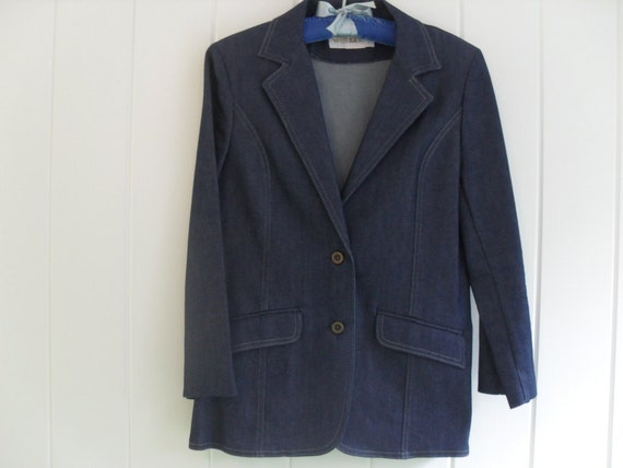 vintage 80s denim skirt suit by white stag us size 14