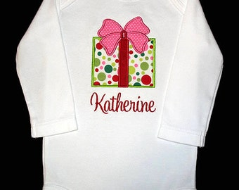 Custom Personalized Applique CHRISTMAS PRESENT and NAME Bodysuit or Shirt - Michael Miller Christmas Santa Play Dot - Red, Pink, Lime Green