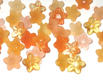 Acrylic Flower Beads Lucite Flower Beads - 50 Orange Baby Sparkle 9mm