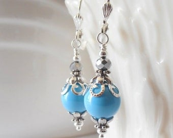 Blue Bridesmaid Earrings Turquoise Swarovski Pearl Dangles in Silver Beaded Earrings Blue Wedding Jewelry Sky Blue Gift for Bridesmaid