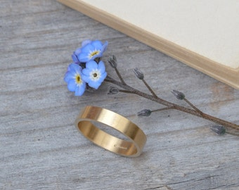 Flat Wedding Ring Wedding Band In 9k Yellow Gold With Personalized Message Inside, 4mm Wide