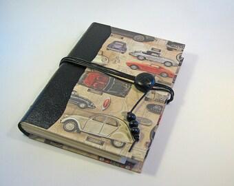 Hand Made Journal  Leather Spine, Car Lover Journal Sketchbook Art Journal Mens, Journal Writers Journal  Travel Journal Diary Blank Journal