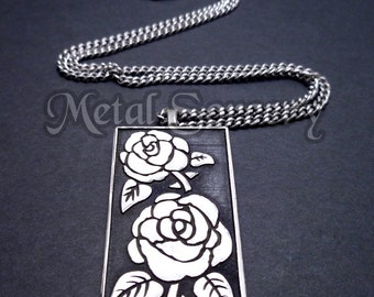 Rose Dog Tag Style Pendant in White Brass