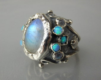 Moonstone Ring, Moonstone Jewelry, Adjustable Ring, Silver Moonstone Ring, Statement Ring, Rainbow Moonstone Jewelry, Moonstone  Engagement