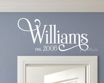 Family last name wall decal - name wall decal - last name decal for home wall - entrance door decal - door decal with name - vinyl lettering