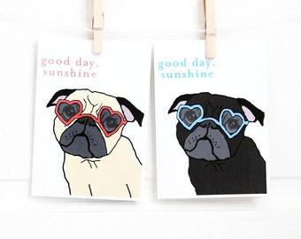 Sunshine Pug Cards  - Set of 6 - Pug Card -  Dog Card - Dog Cards - Pug Greeting Card - All Occasion Card - Thank You Card