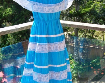 Mexican Dress, Off shoulder dress, Blue Mexican dress, Frida Kahlo Dres, size L / XL
