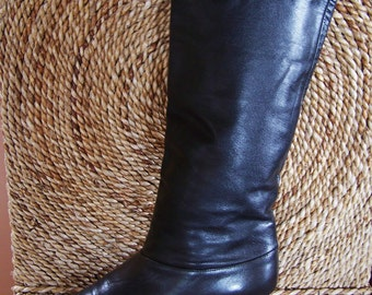 Leather Boots, Black Leather Boots,  Fold top boots, Heeled boots, womens boots,  size 7