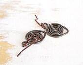 Copper Earrings, Spiral Jewellery, Copper Wire Jewelry, Small Drop Earrings, Everyday Jewellery, Lightweight Earrings, Metalsmith Earrings