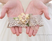 Dark Ivory Lace Wedding Garter with Flowers Pearls and Ribbon, Rustic Wedding Bridal Garter Lace Bohemian Garter