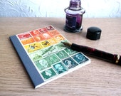 Upcycled Travel Journal 14, Lined A6 Traveler's Notebook, Postage Stamp Collage Art, Sunset Orange Green Mail Art, Gift for Mailman, Penpal