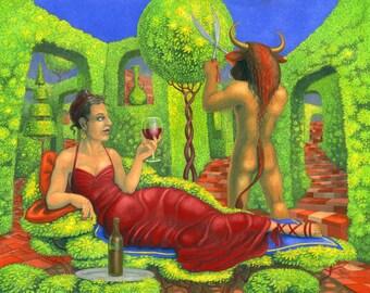 Original art: 'Mrs Minotaur II' - painting in gouache by Nancy Farmer (unframed)