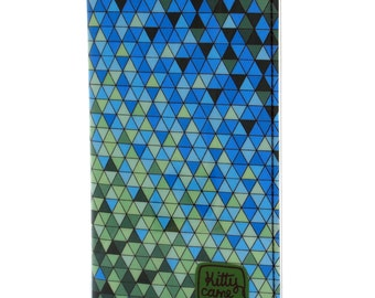 Passport wallet - Blue green geometric triangles fabric