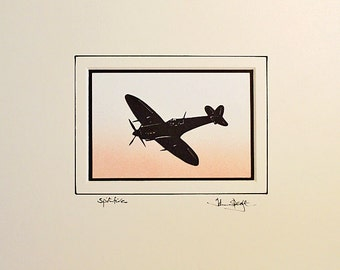 Spitfire Flying Hand Cut Papercut