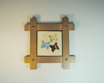 Butterfly Art Tile - Mission Style Wood Frame - Recycled Glass and Ceramic Tile - 3 butterflies - Framed