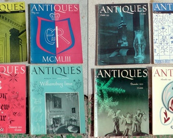 Lot of 8 mid century 1953 Antiques Straight Enterprises magazines Victorian early 1900s decorative art decor history ads photography prints