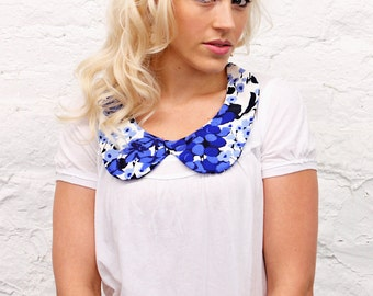 Blue and Purple Floral Peter Pan Collar