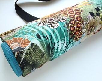 Yoga Mat Bag, Yoga Mat Carrier, Yoga Mat Sack, Jungle Print, Green, Gift for Yogini