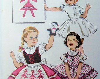 Vintage Little Girl's Size 4 Jumper Dress Petticoat Blouse and Apron McCalls Sewing Pattern 2144