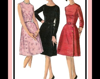 Vintage 1964-LITTLE BLACK DRESS-Sewing pattern-Three Elegant Styles-Sleeveless-Long Sleeves-Button  Detail–Ribbon Bow Trim-Size 14-rare
