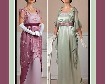 TITANIC ERA-Exquisite Evening Gowns-Two Styles-Empire Waist-Lace Overlay-Corset-Low Scoop Neckline-Belt-Train-Cascade Drape-Uncut-Size 6-12