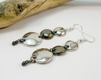 Long Silver Earrings, Silver Drop Earrings, Gift for Her