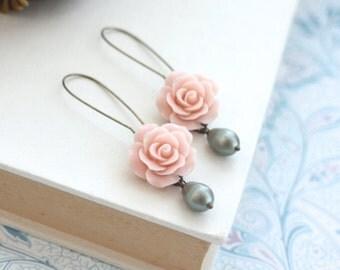 Pink Rose Earrings, Matte Green Pearl Dangle Earrings. Rustic Garden Wedding Light Pink Bridal Wedding, Bridesmaid Gift, Rustic Pink Wedding