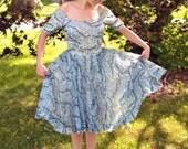 50s Cocktail Dress Party Dress Will Schwartzman 24 Inch Waist