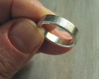 Men's Wedding Band Ring, Unisex Wedding Ring, Sterling Silver, Brushed Matte Finish - Industrial Brush Ring