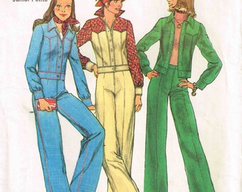 Junior Misses Unlined Denim Jean Jacket and Pants Vintage 1970s Simplicity 6620 Sewing Pattern Size 7 9 jp Bust 32 33