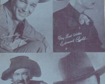 Cowboy Vintage Publicity Photo Card with Western Favorites Roy Rogers Gabby Hayes Edmund Cobb and Ernest Tubb Country Star