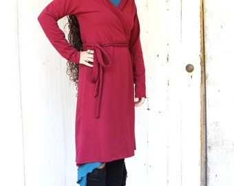SAMPLE SALE - Everyday Wrap Cardigan - Size S/M - Soy and Organic Cotton French Terry - Red Wine